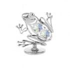 Сребърна фигура Жаба с кристали Сваровски