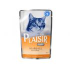 Пауч за котки Plaisir за контрол на космените топки - с пилешко месо в сос Грейви