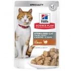 Пауч с пуйка , малки късчета в сос Грейви за млади кастрирани котки от 6 мес. до 6 год. Hill's Science Plan Feline Sterilised Cat Young Adult, 12бр х 85гр