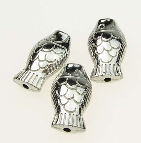 Мънисто метално риба 17х10х6 мм отвор 2 мм цвят сребро -10.80 грама -4 броя
