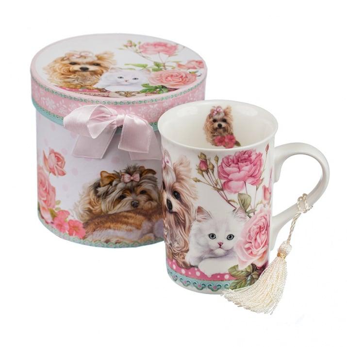 Чаша капучино + подаръчна кутия - Коте и куче, 300 мл