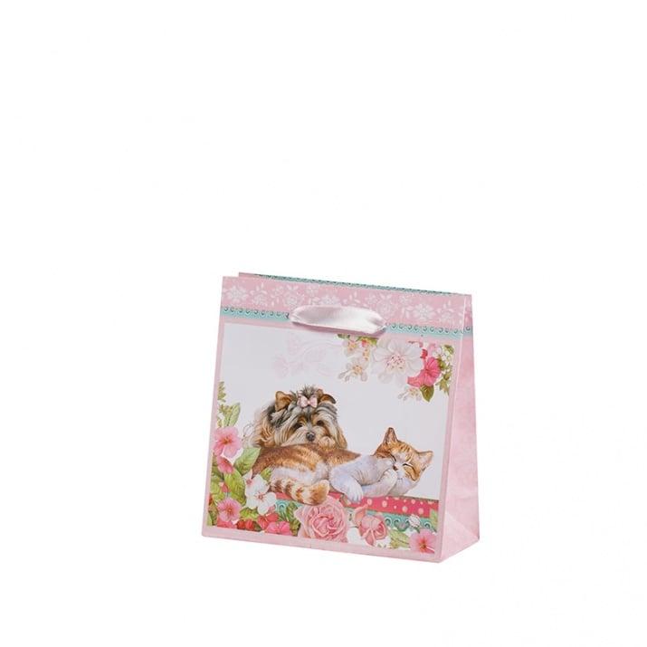 Подаръчна торбичка - Коте и куче, пакет 10бр., малка