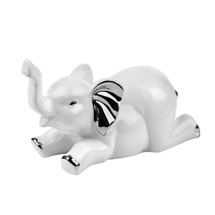 Статуетка - легнало бяло слонче, керамика, голяма
