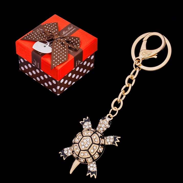 Стилен ключодържател с кристали - костенурка