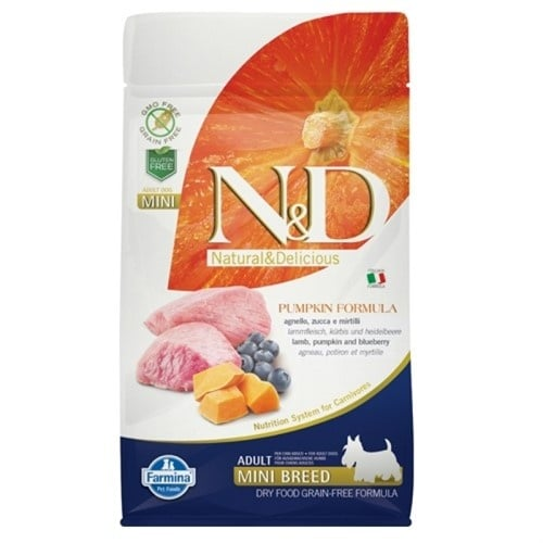 N&D GF PUMPKIN LAMB&BLUEBERRY, ADULT MINI - пълноценна храна с тиква за кучета в зряла възраст над 1г. от дребните породи с агне и боровинки