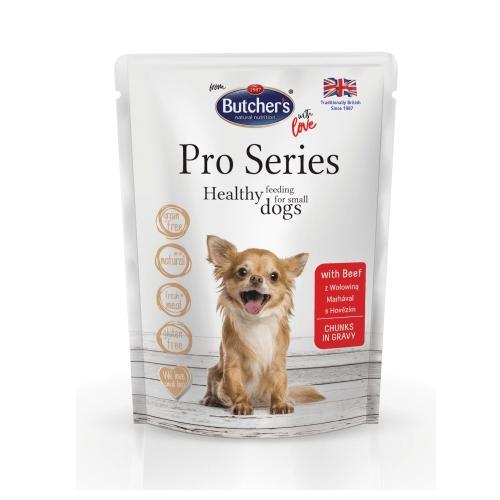 Пауч за израстнали кучета от дребни породи Butcher's Pro series - 100% натурални съставки, без глутен 100гр  - три вкуса