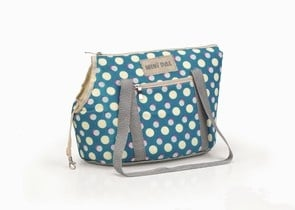 Синя транспортна чанта от плат на жълти точки
