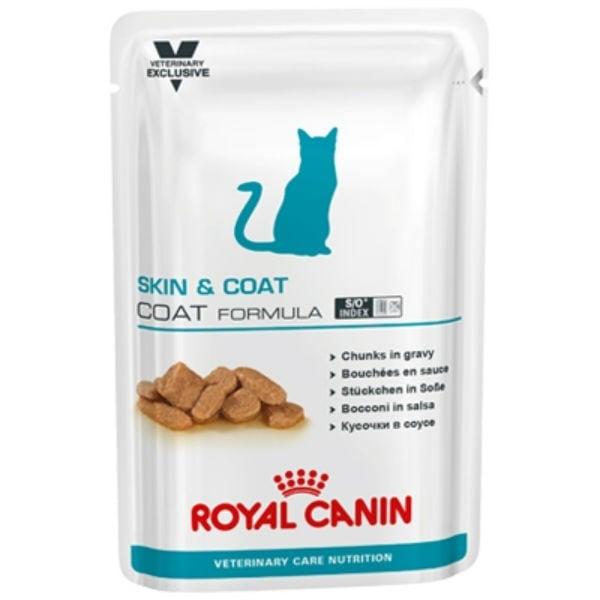 Royal Canin VCN CAT Skin & Coat Pouch– паучове за кастрирани котки за здрава кожа и козина 0,10