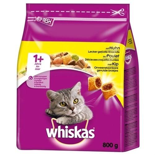 Whiskas - гранула с фин пълнеж, с невероятен вкус на пилешко месо, специално за израснали котки - 0.300кг; 1.400кг; 14.00кг