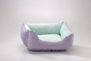 Правоъгълно двулицево легло в лилаво и синьо