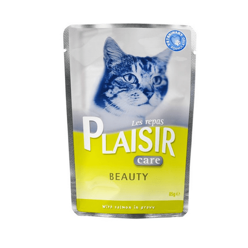 Пауч за котки Plaisir със сьомга в сос Грейви - за здрава козина и кожа