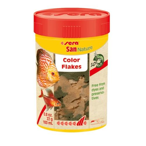 Sera San Nature - основна оцветяваща храна за рибки без оцветители и консерванти