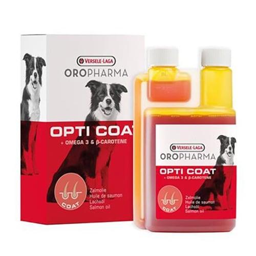 Opti Coat -Хранителна добавка за кучета с високо съдържание на сьомгово масло и В-каротин за лъскава козина и здрава кожа - 250мл;1.0л