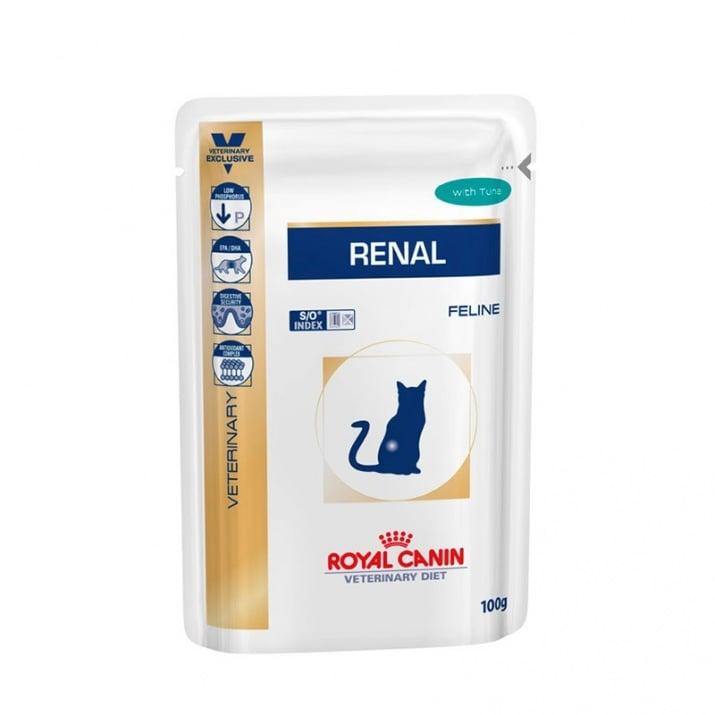 Royal Canin Renal pauch beef/tuna/chicken - бъбречна недостатъчност при котки 100 гр /с телешко, риба тон, пиле/