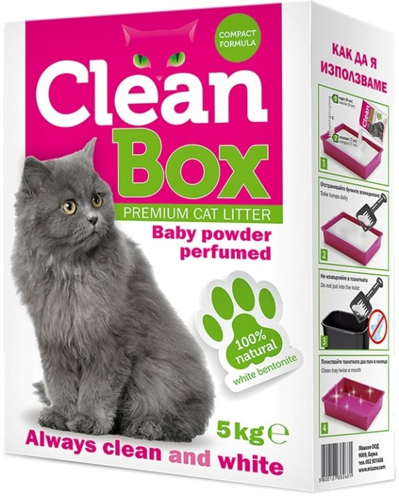 CleanBox - постелка за котешка тоалетна от бял бентонит - различни аромати