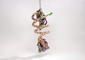 Спираловидна играчка със звънче за големи папагали