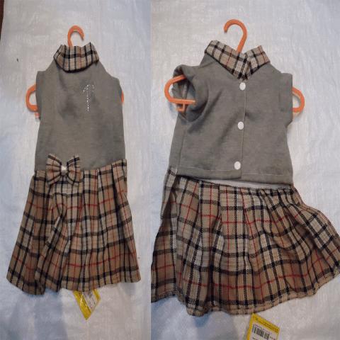 Зимна рокля - шотландско каре в сиво