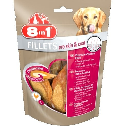 Лакомство за куче 8in1 Филенца Pro Skin & Coat S-  Пилешки филенца от най-високо качество, правещи козината лъскава