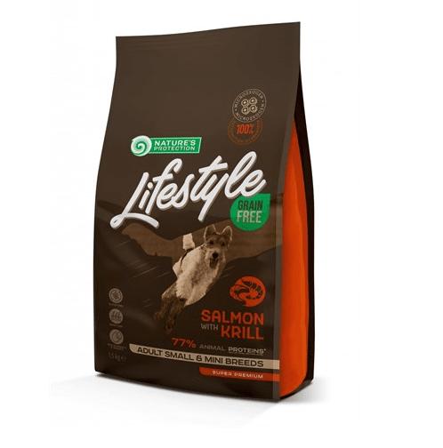 Nature`s Protection Grain Free Adult Salmon with Krill Small and mini breeds -  Пълоценна храна за израстнали кучета от дребни порди със сьомга и крил, без зърно - 1.50кг; 10.00кг