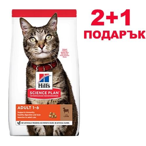 Hill's Science Plan Adult с агнешко и ориз - Суха храна за котки над 1 година - 300 гр. 2 + 1 ПОДАРЪК