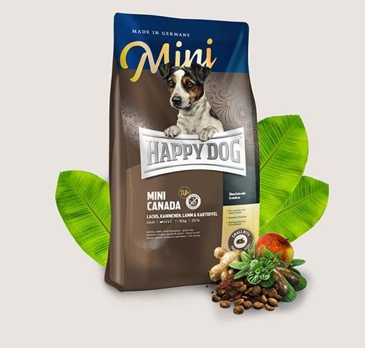Храна за кучета Happy Dog Mini Canada - За чувствителни млади кучета и за активни възрастни кучета от дребни породи - две разфасовки