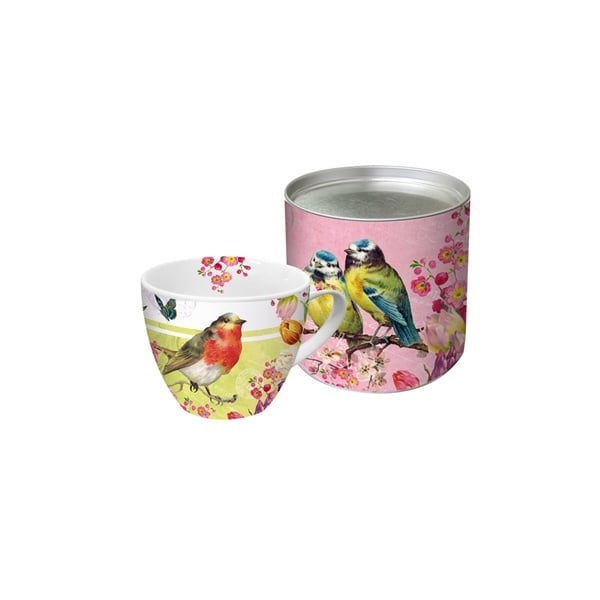 Чаша с луксозна метална кутия - Big Mug Vintage Robin & Roses