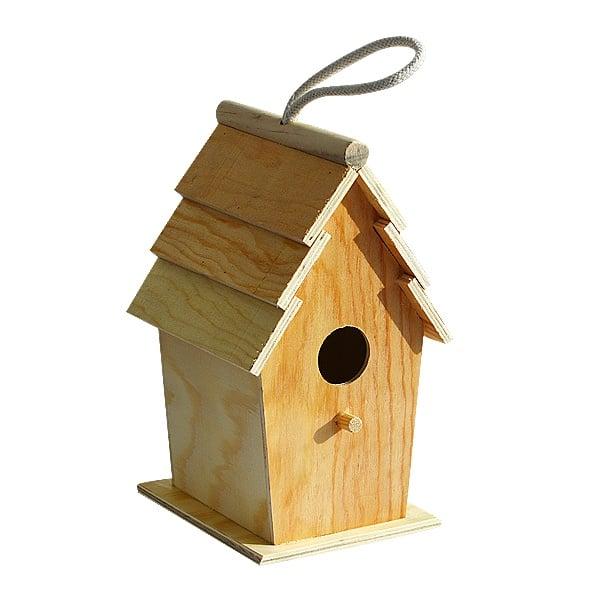 Дървена къщичка за птички, H 22 х 10.6 х 13 см, натурална