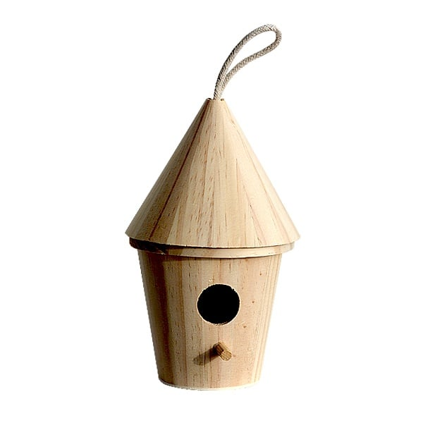 Къщичка за птички, H 20,5 x ф 13 cm, натурална