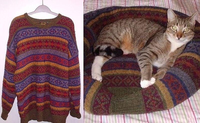 Направете легло за домашен любимец от стария си пуловер