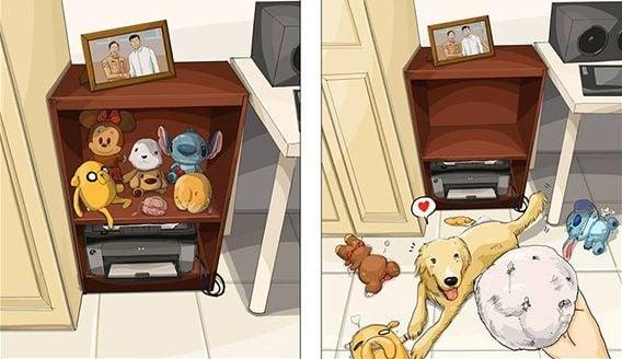 Забавни комикси, изобразяващи живота преди и след като си вземете куче