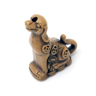 Мънисто Антик куче 36x28x14 мм дупка 3 мм кафяво -50 грама ~8 броя