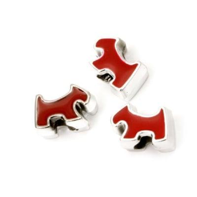 Мънисто CCB куче 15x11x8 мм дупка 4 мм червено - 10 броя