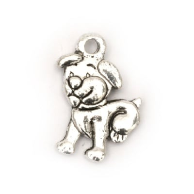 Висулка метална куче 16.5x11x2 мм дупка 2 мм цвят сребро -10 броя