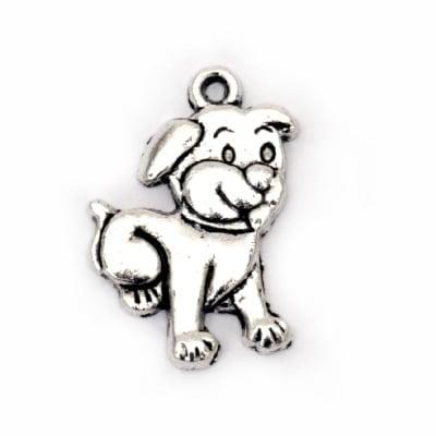 Висулка метална куче 21x15x2 мм дупка 1.5 мм цвят сребро -10 броя