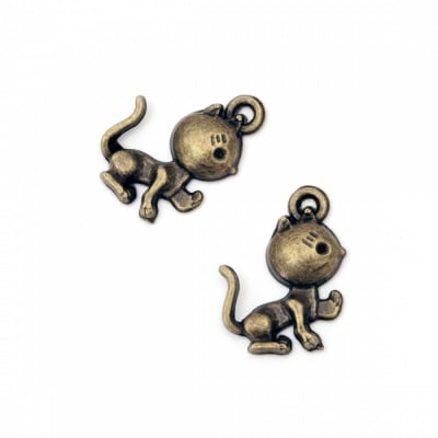 Висулка метална котка 20x14x3 мм дупка 1.5 мм цвят антик бронз -10 броя