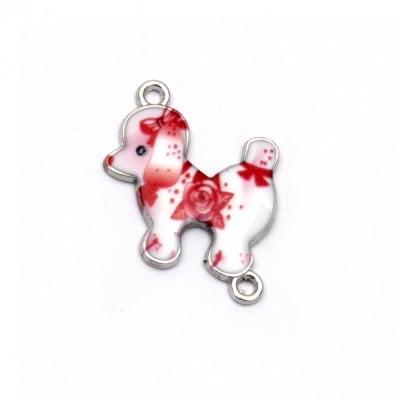 Свързващ елемент метал куче 25x20x2 мм дупка 2 мм бяло и червено -2 броя