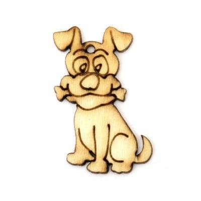 Висулка дървена куче 30x20x2 мм -10 броя