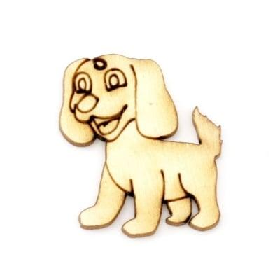 Висулка дървена куче 30x25x2 мм -10 броя