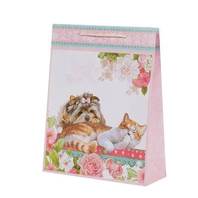 Подаръчна торбичка - Коте и куче, пакет 10бр., голяма