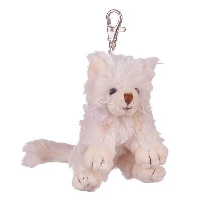 Плюшенa играчка - ключодържател - бяло коте