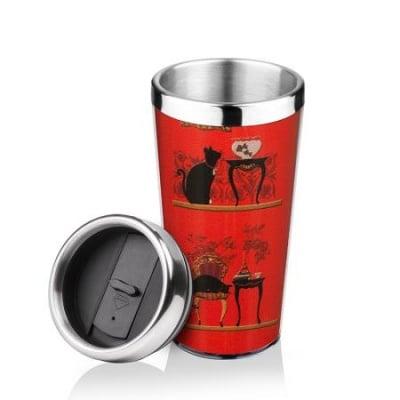 Термо чаша черна котка