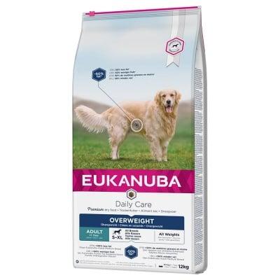 Храната е подходяща за израснали кучета от всички породи с наднормено тегло или ниска физическа активност Eukanuba Daily Care Overweight Adult Dog, две разфасовки