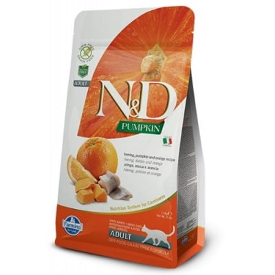 """""""N&D CAT GRAIN FREE PUMPKIN HERRING & ORANGE ADULT"""" – Пълноценна храна за котки над 1 година с тиква, херинга и портокал"""