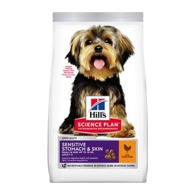 Hills Science Plan Small&Mini Sensitive Stomach&Skin Adult с пилешко - Суха храна за дребни и миниатюрни породи кучета над 1 година с чувствителен стомах и кожа