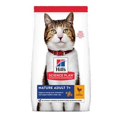 Hill's Science Plan Mature Adult с пиле - Холистична суха храна специално за котки над 7-годишна възраст - различни разфасовки