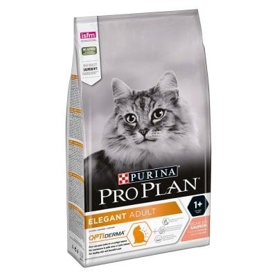 Суха храна за котки PURINA PRO PLAN Elegant Adult, за добро общо състояние и здрави кожа и козина, със сьомга, три разфасовки