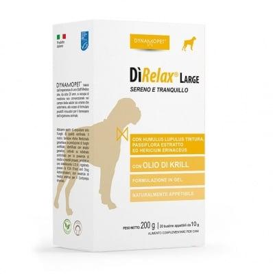 Хранителна добавка за кучета Dunamopet DìRELAX помага на кучето да преодолее моменти на напрежение и нервност; полезно при пътуване и за намаляване на страха от фойерверки, за кучета от едри породи