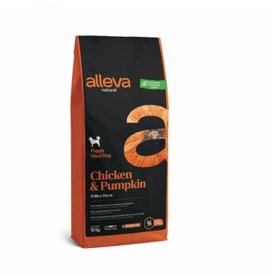 Пълноценна храна за малки кучета от големи породи Alleva® Natural Puppy Maxi, с пиле и тиква, 12кг