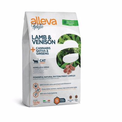 Пълноценна храна за възрастни котки Alleva® Holistic Adult Cat, с Агнешко и Еленско + Канабис сатива и Женшен, 1.50кг