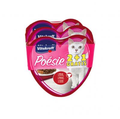Консерва за котки Vitakraft Сърце Poesie - ПРОМОКОМПЛЕКТ 3 бр.: 2 бр. Говеждо с моркови + 1 бр. Пиле с градински зеленчуци, 3x0.85гр